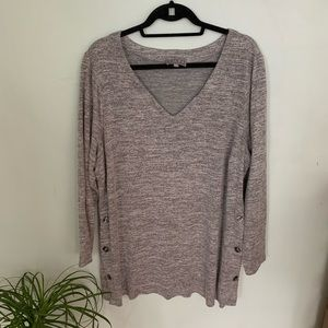 Laura Plus-Grey Knit Sweater with Side Buttons